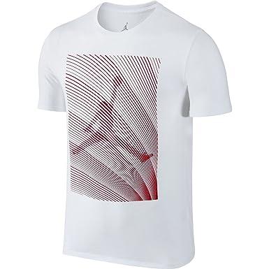 239e4eb0dc27 Nike Men s Jordan Retro 12 Horizon T-Shirt (White Red) (Small ...