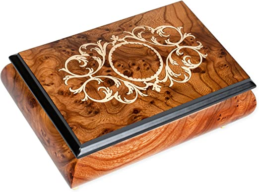 Classic Royal Blue Arabesque Wood Inlay Music Box Over 400 Song Choices