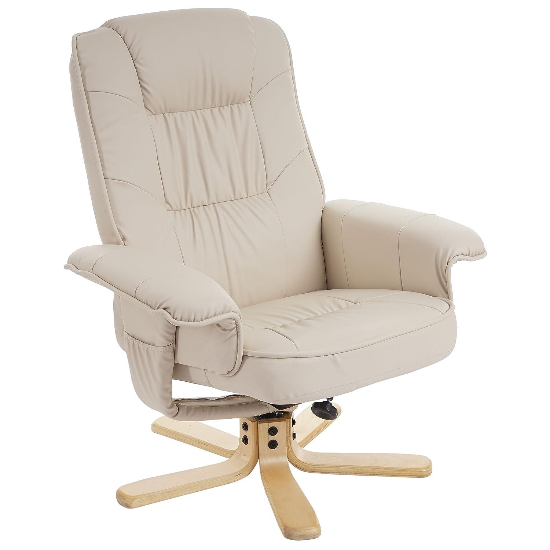 Fauteuil de télé M56 - fauteuil de relaxation sans tabouret - similicuir ~ crème