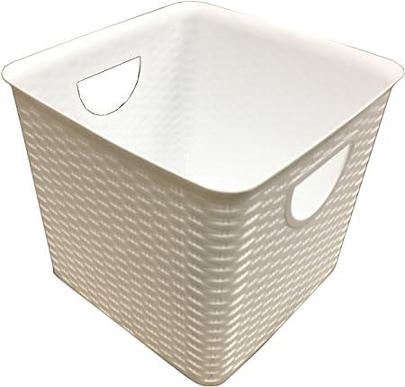 Grande cuadrado de mimbre cestas de almacenamiento de plástico cajas contenedores apilables caja de unidad: Amazon.es: Hogar