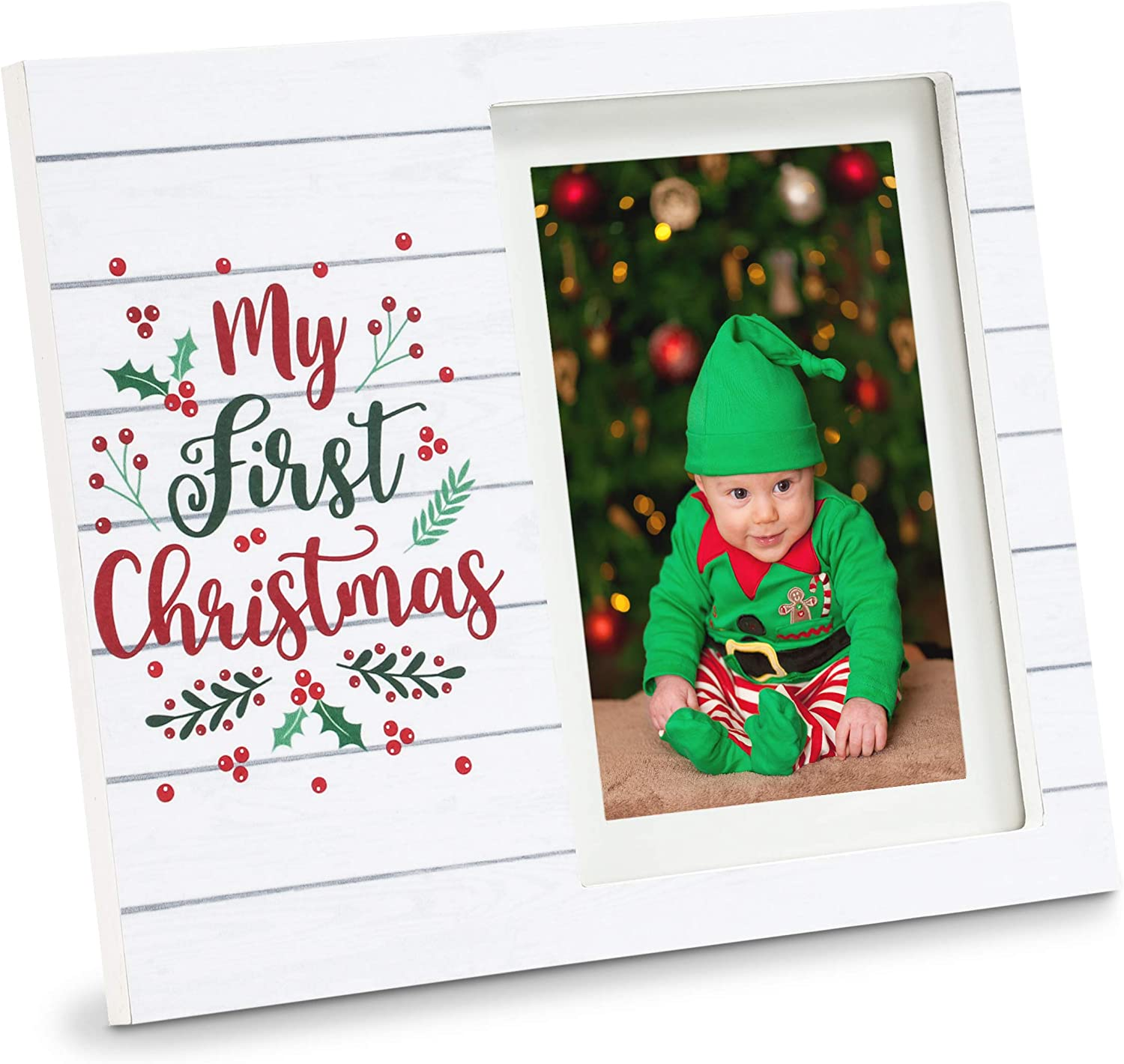 Juvale My First Christmas Wood Picture Frame 4 x 6 and 5 x 7 Photos (9.5 x 7.8 in)