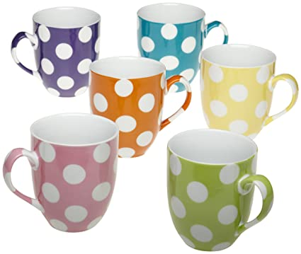 Amazon.com | Yedi Houseware Classic Coffee and Tea White Dots Mugs ...