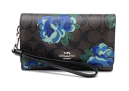 08a00b91e7f2 Coach Flap Phone Wallet In Signature Canvas With Jumbo Floral Print (BROWN  BLACK MULTI