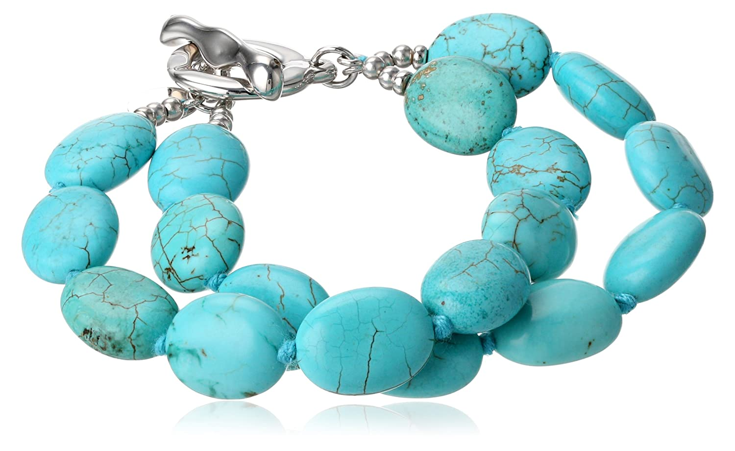 Amazon.com: Sterling Silver Simulated Turquoise Howlite Double ...