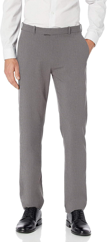 Haggar Mens Premium No-Iron Expandable-Waist Plain-Front Pant