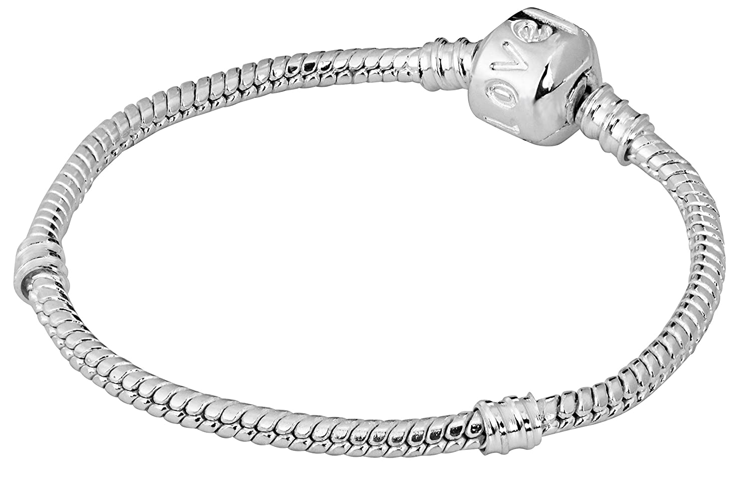 Penny /& Piper 6 Inch Sterling Silver Plated Love Snap Barrel Clasp Snake Chain European Charm Bracelet for Kids//Children
