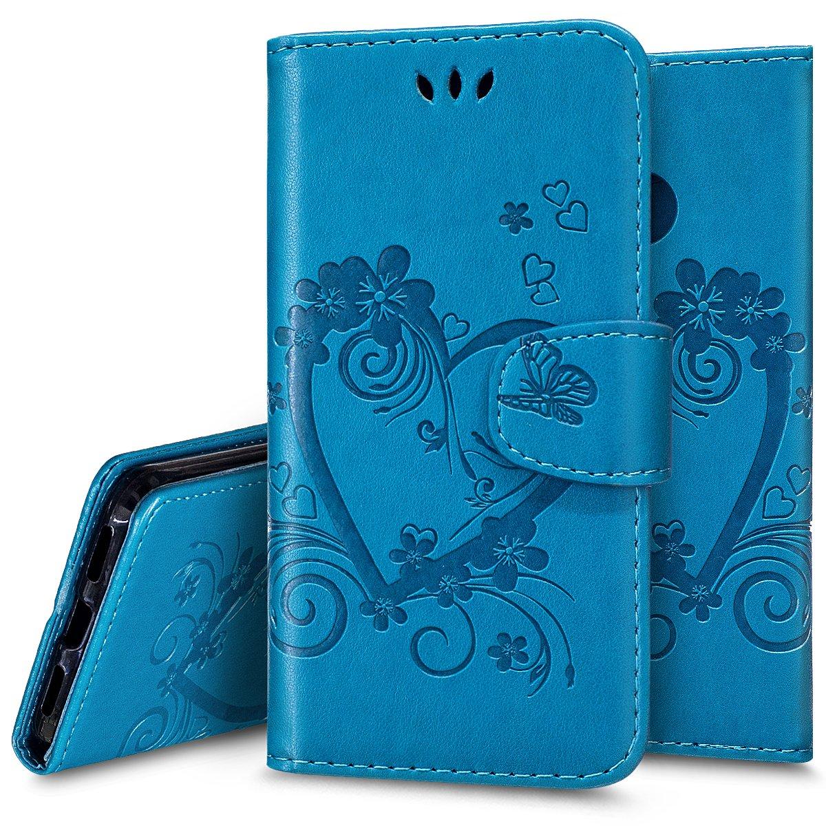 Custodia Case Cover per Huawei P8 lite 2017, Ukayfe Luxury Puro Colore Modello Goffratura Amare Cristallo 3D Design Bumper Slim Folio Protectiva Lussuosa Custodia Cover per Huawei P8 lite 2017, [PU Leather] [Shock-Absorption] Portafoglio Cover Custodia con
