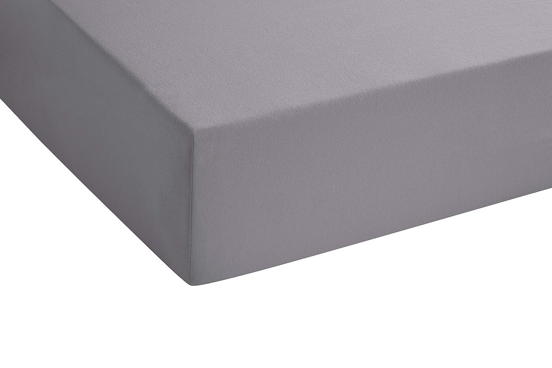 pour un lit simple de 90 x 190 cm /à 100 x 200 cm tr/ès doux et extensible Castell 7113//018//040 coloris gris drap housse en jersey stretch 100/% coton