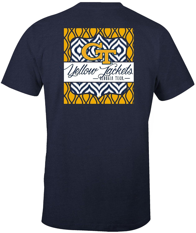 NCAA Georgia Tech Womens Double Pattern Scroll Favorite Short sleeve T-Shirt Medium,Navy