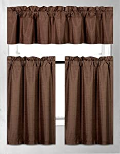 Elegant Home Collection 3 Piece Solid Color Faux Silk Blackout Kitchen Window Curtain Set with Tiers & Valance Solid Color Lined Thermal Blackout Drape Window Treatment #K3 Coffee / Brown / Chocolate)