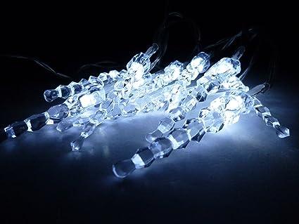 LED LICHTERKETTE EIS ZAPFEN WARMWEIß EISZAPFEN 10 LEDs KLARE ZAPFEN INNEN