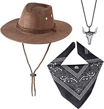 Beelittle Accessori Costume da Cowboy Cappello da Cowboy Bandana Pistole Giocattolo con fondine da Cintura Set da Cowboy per Halloween Party Dress Up