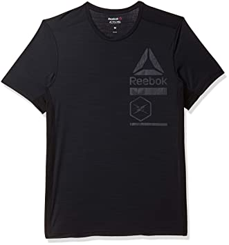 aae42de8 Reebok Men Activchill Zoned Graphic Men Running Clothes T-Shirt Black -  Dark Grey S