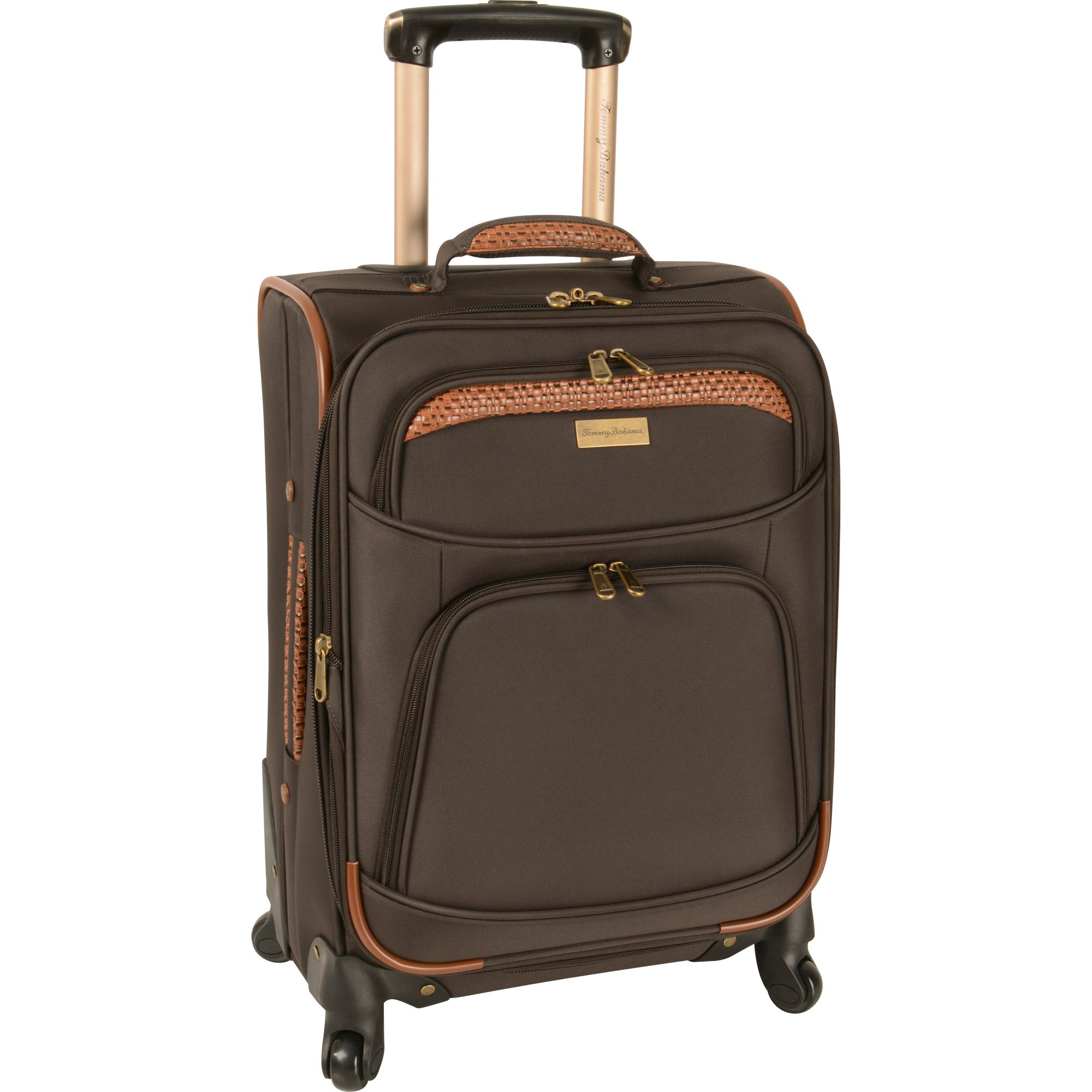 Tommy Bahama Santorini20 Inch Expandable Spinner, Dark Brown/Cognac, One Size