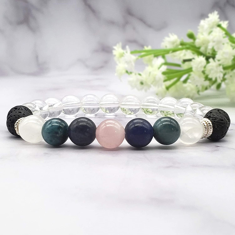 Onyx Healing Crystals Bracelet Sodalite Diffuser Bracelet Selenite Rose Quartz Apatite Weight Loss Bracelet Motivational Bracelet