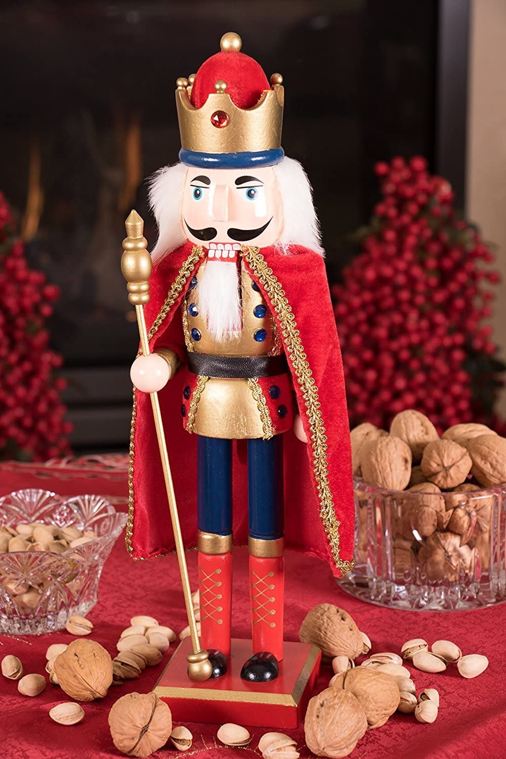 Collectible Wooden Christmas Nutcracker 15 Tall Holding Gold Scepter Jeweled Crown 100/% Wood Clever Creations Traditional King Nutcracker Gold and Red Uniform Festive Holiday Decor