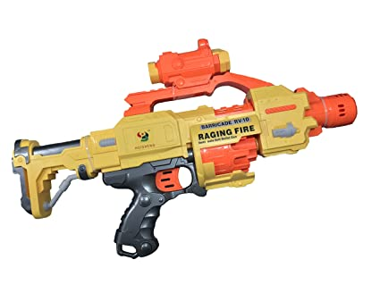 Battery powered Nerf Stampede ECS and hand revolver
