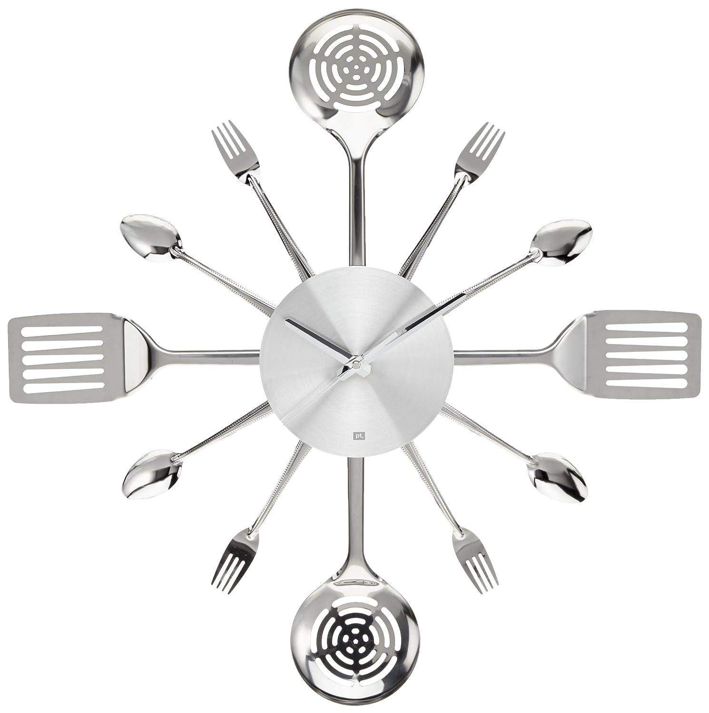 Amazon.com: Present Time Wall Clock Silverware Steel Utensils, Large ...