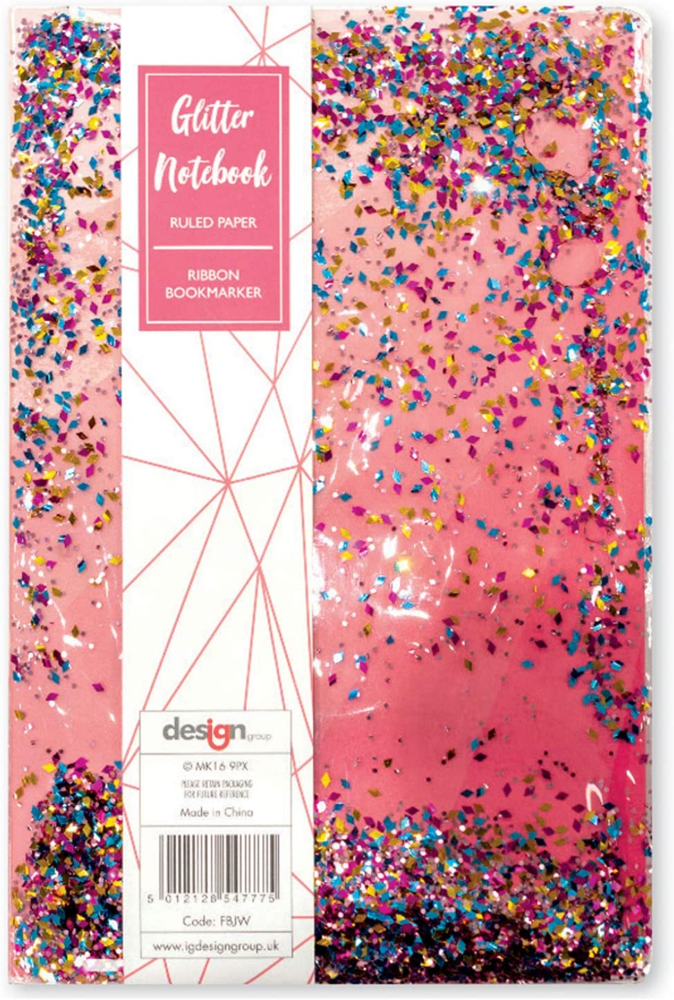 WHSmith Lexi Collection Glitter A5 Notebook With Flexi Wipe Clean Plastic Cover