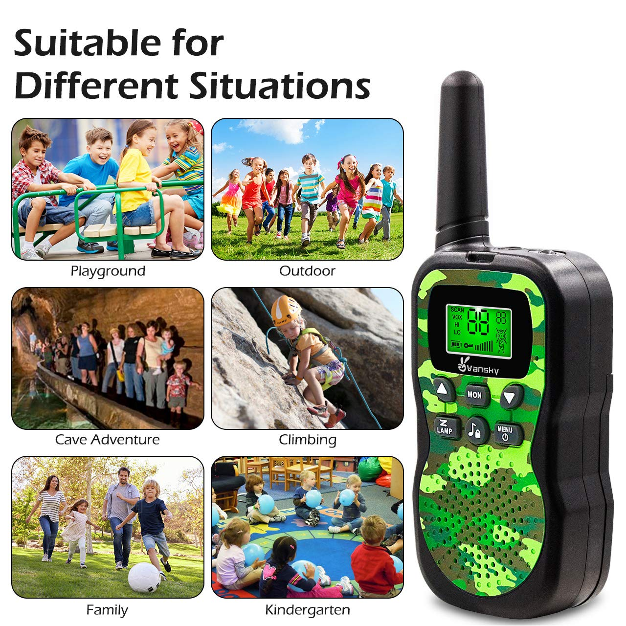 Vansky Walkie Talkies for Kids, Kids Toys 4 5 6 7 8 Age Boy Girl Long Range 22 Channel Built-in Flashlight 2 Way Radio Best Gifts Games, Outdoor Adventure, Camping, Hiking (Camo Green) by Vansky (Image #7)