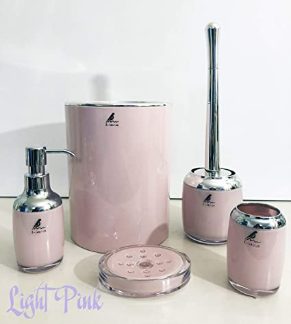Bathroom Accessories.Liana 5 Piece Abs Bathroom Accessories Set Toothbrush Holder Soap Dispenser Soap Dish Toilet Brush And Holder Waste Bin Light Pink