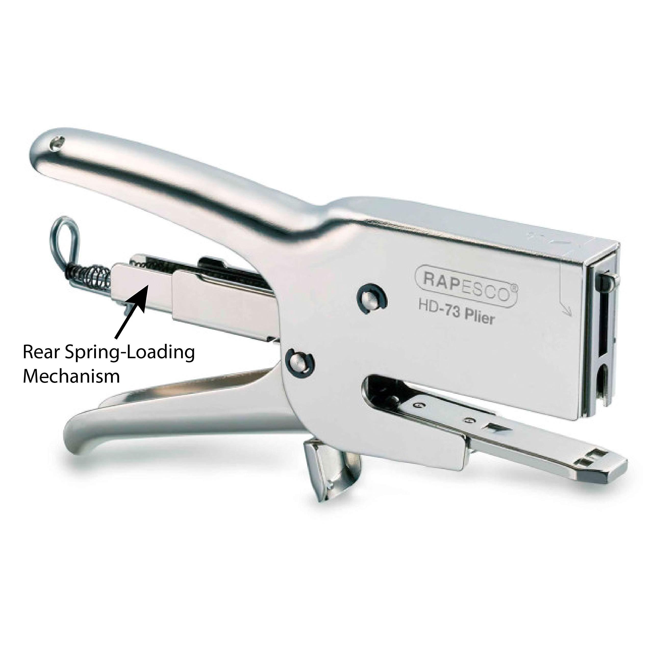 Rapesco Heavy-Duty 73 Packaging Plier Stapler, Uses 73 Type 1/4''-1/2'' Staples, Metal (1169)