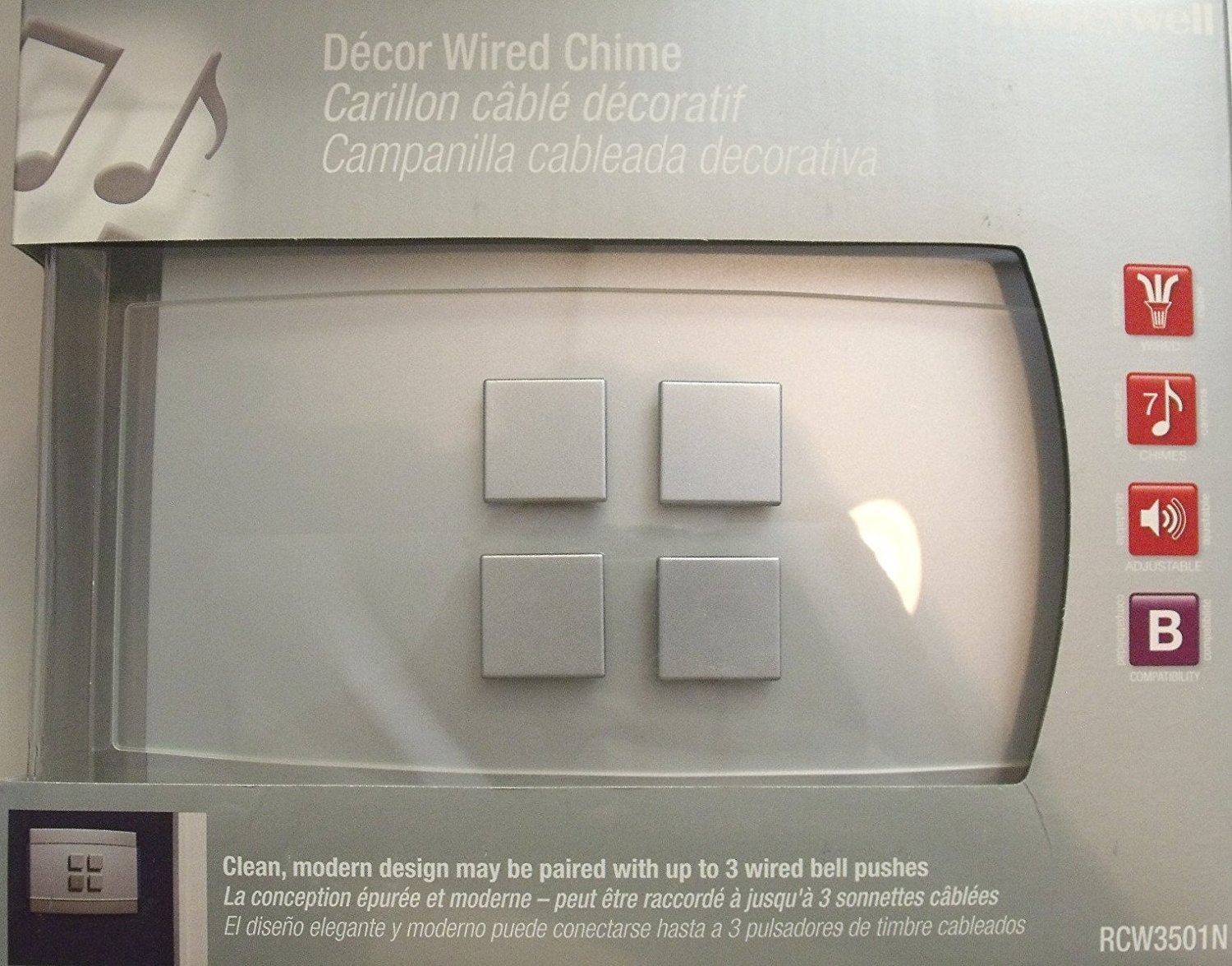 Honeywell Rcw3501n Decor Wired Door Chime No Push Button Included Doorbell Wiring Diagram Two Chimes