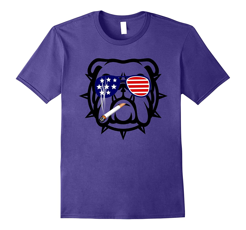 Bulldog Dog English T-shirt 4th of July Patriotic National-Art