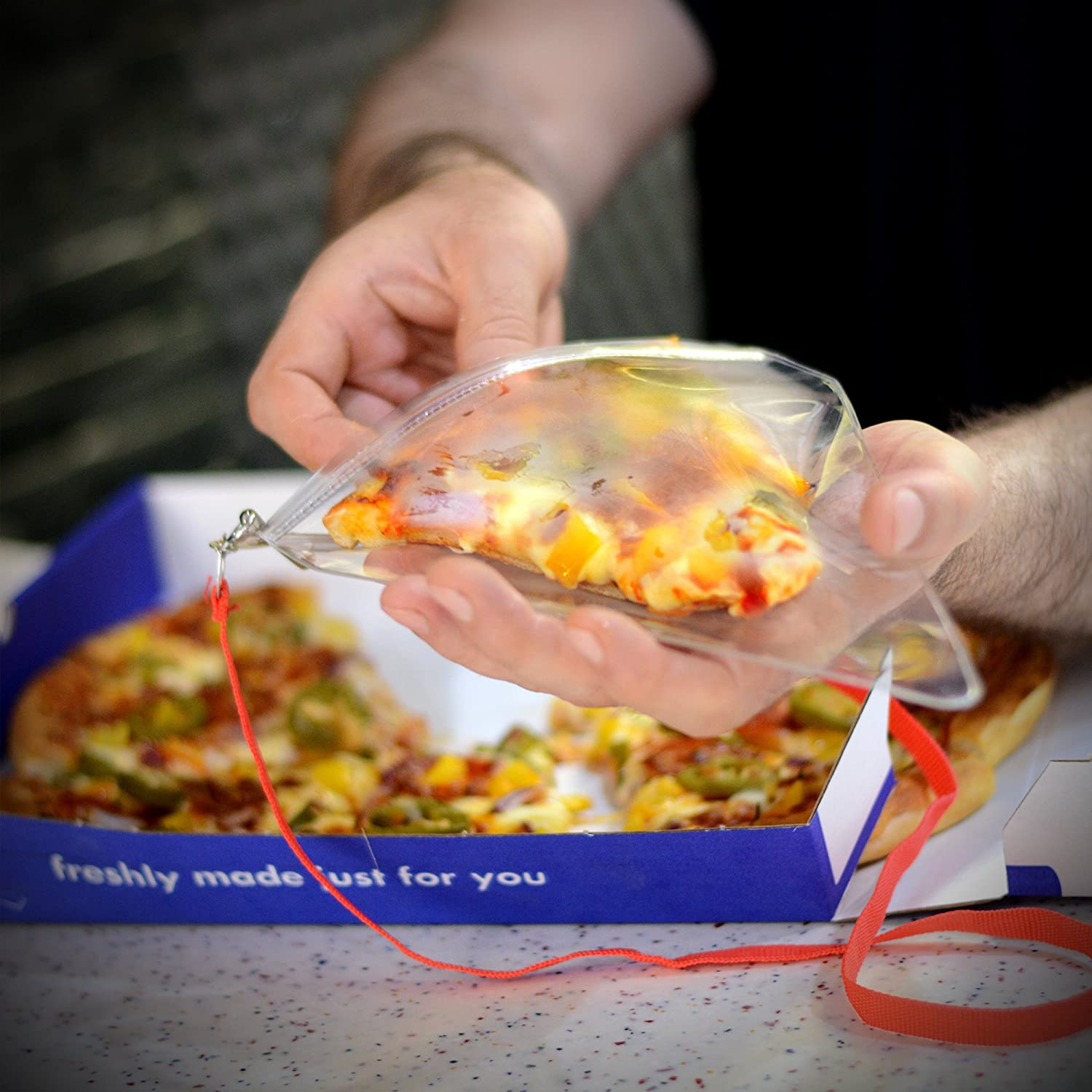 CKB LTD/® Novelty PIZZA HOLDER Pouch And Lanyard Holds Large Slices Unusual Gift The Ultimate Pizza Lover Gadget
