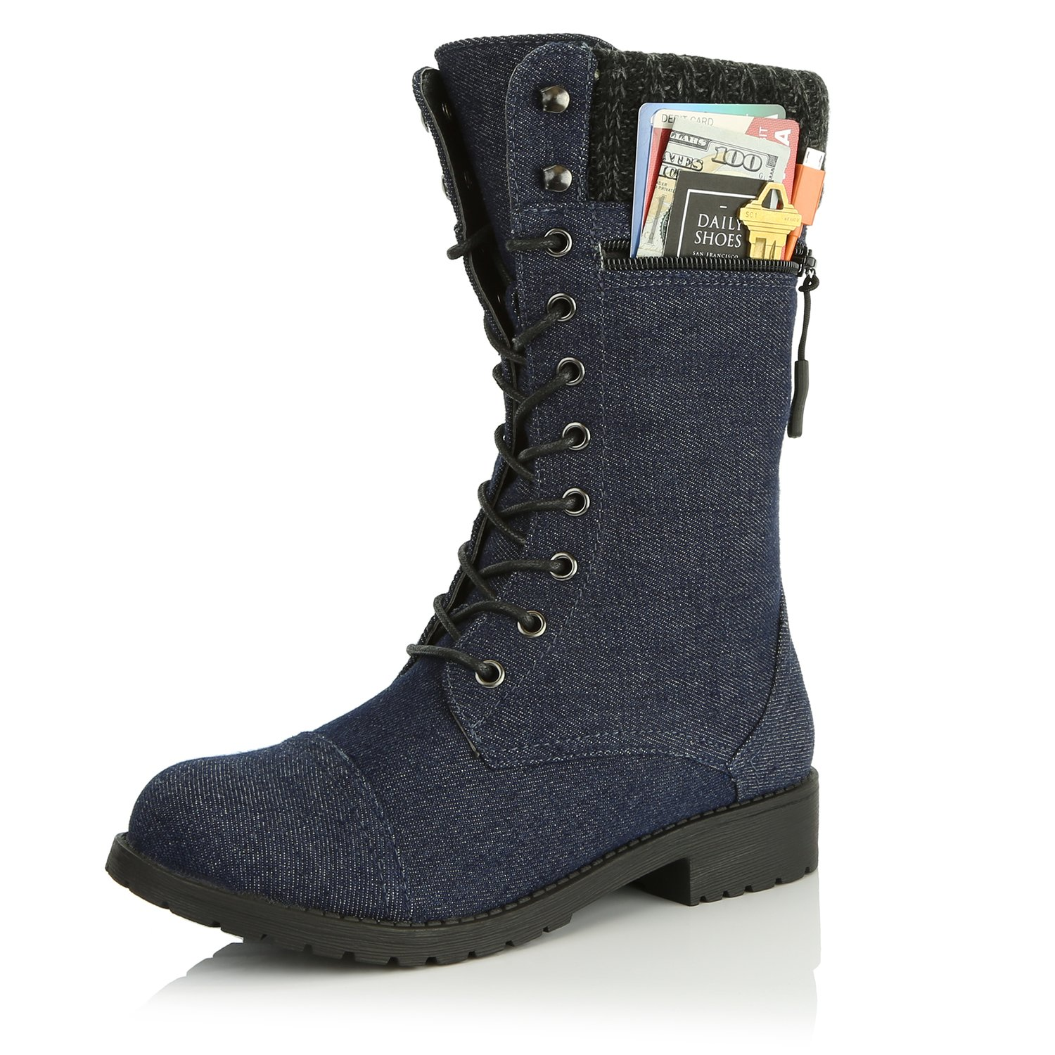 DailyShoes Women's Combat Style up Ankle Bootie Quilted Military Knit Credit Card Knife Money Wallet Pocket Boots B0155NA0D8 7.5 B(M) US|Blue Denim