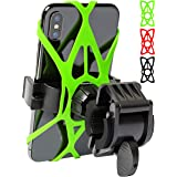 Mongoora Bike & Motorcycle Phone Mount w/ 3 Bands (Black, Red, Green) Cell Phone Holder for Bicycle Handlebar Easy to Install
