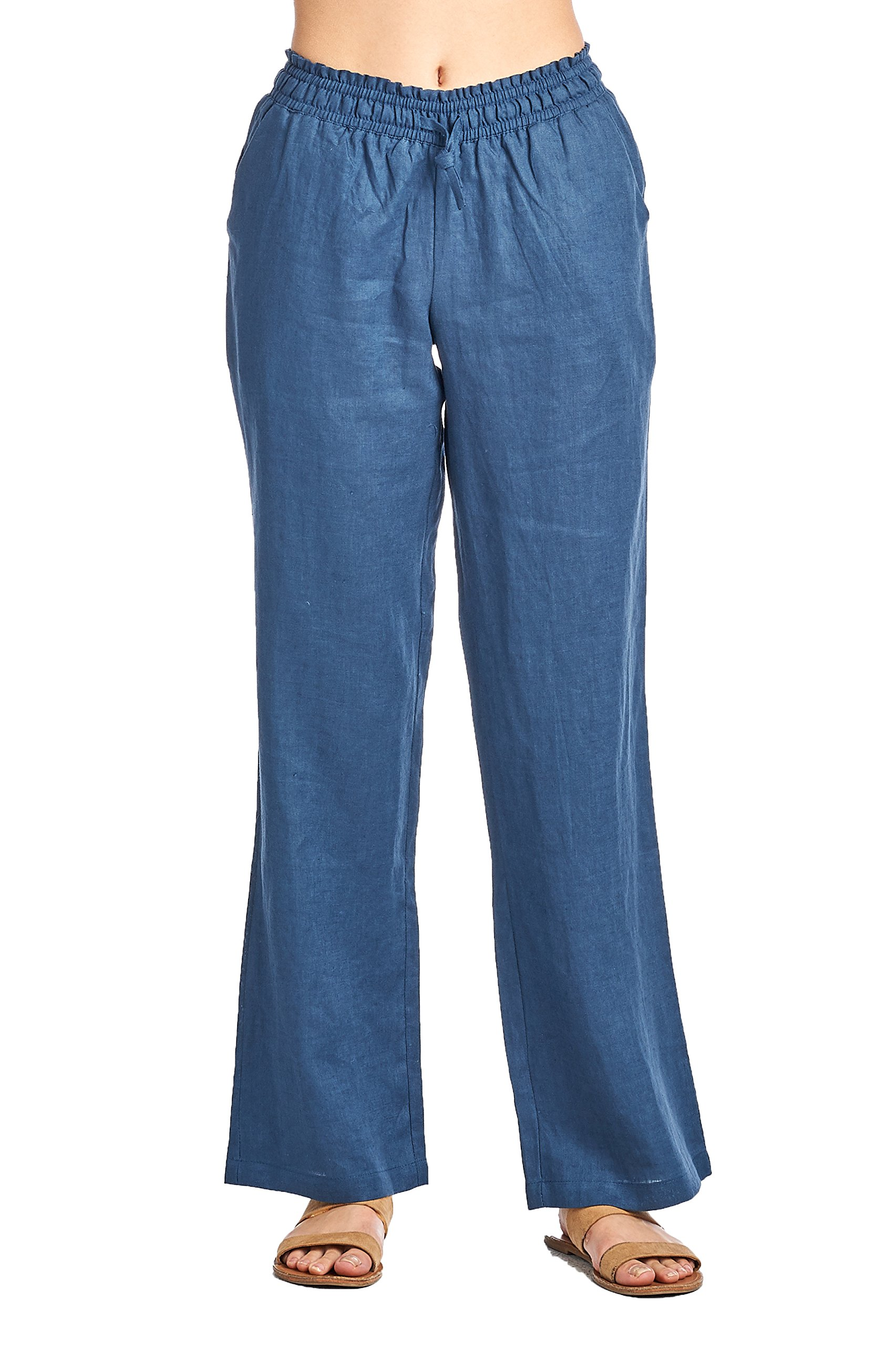 High Style Women's wide leg smocked waist 100% linen pants with drawstring tie (008A, NavyBlue, 8)