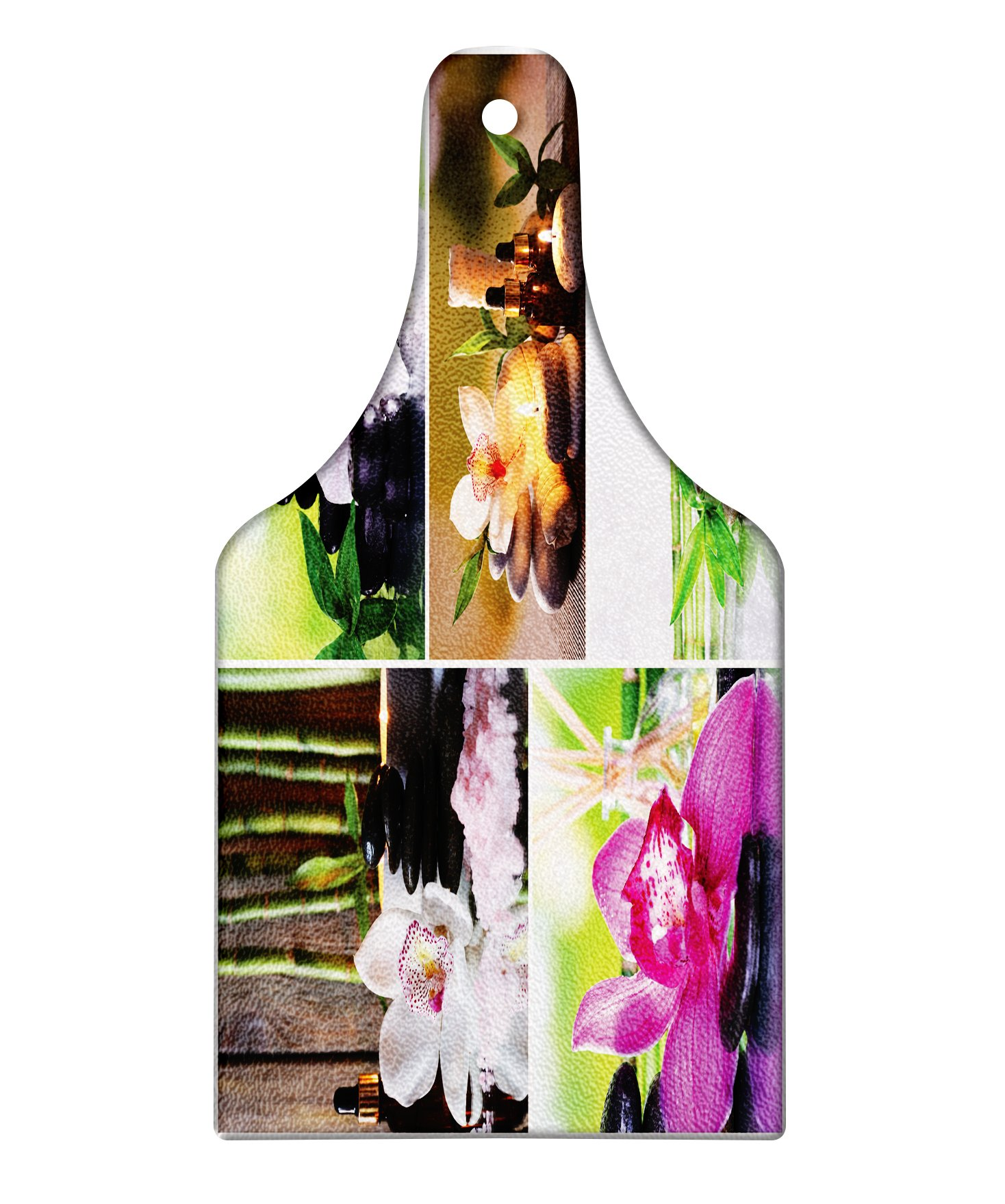 Lunarable Spa Cutting Board, Spa Day Collage with Orchids Stone Pebbles Natural Herbal Oils Body and Mind Treatment, Decorative Tempered Glass Cutting and Serving Board, Wine Bottle Shape, Multicolor