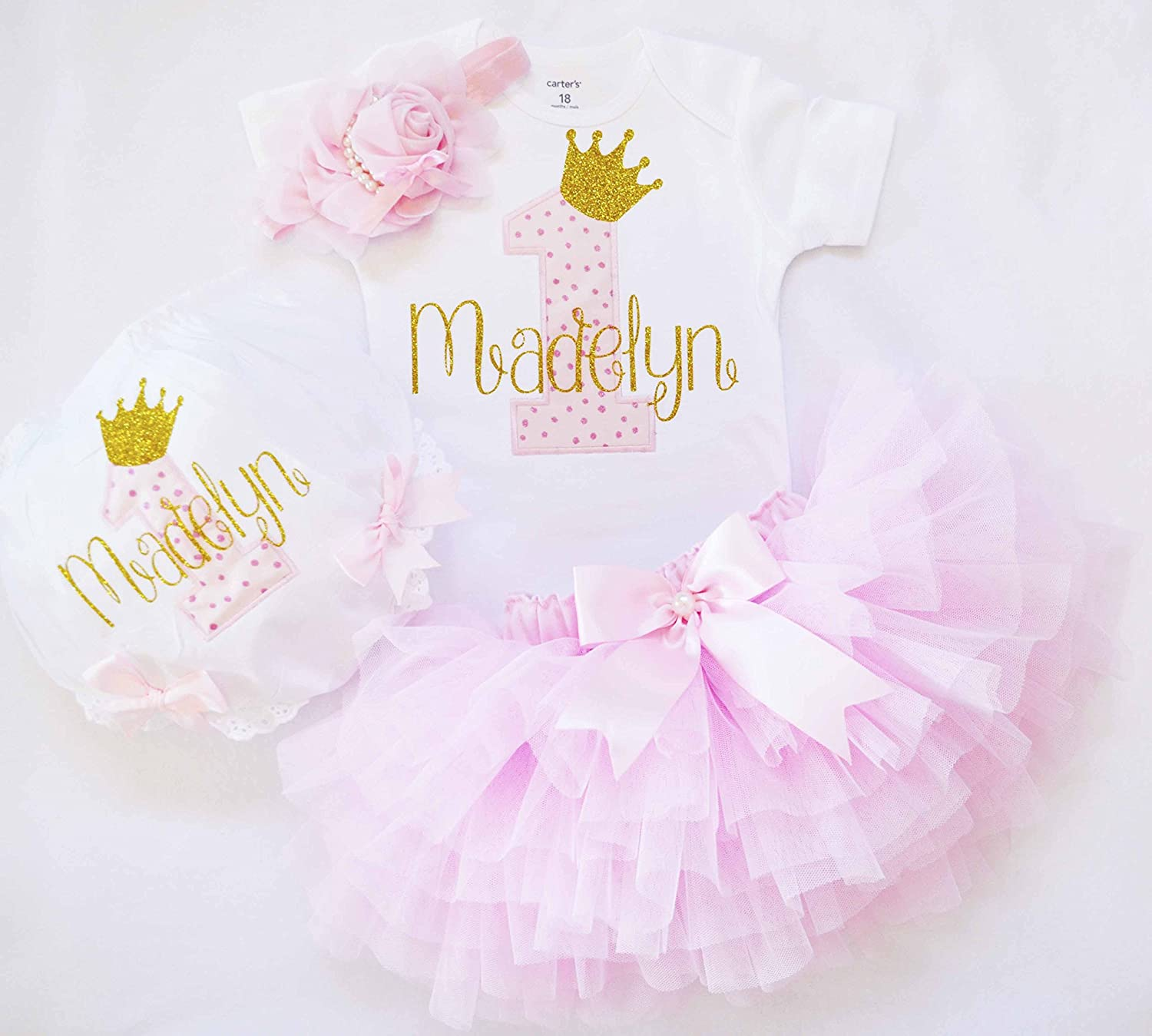 first birthday outfit for baby girl in pink and gold,customized 1st birthday shirt,pink ruffle tutu,baby girl diaper cover,cake smash outfit