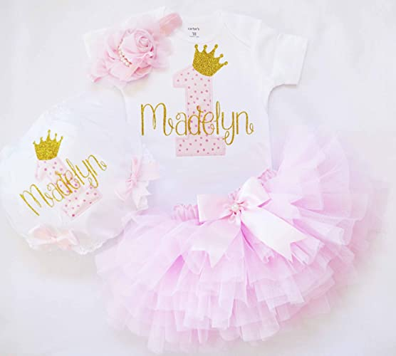 b6311be2 Amazon.com: first birthday outfit for baby girl in pink and gold,customized  1st birthday shirt,pink ruffle tutu,baby girl diaper cover,cake smash outfit:  ...