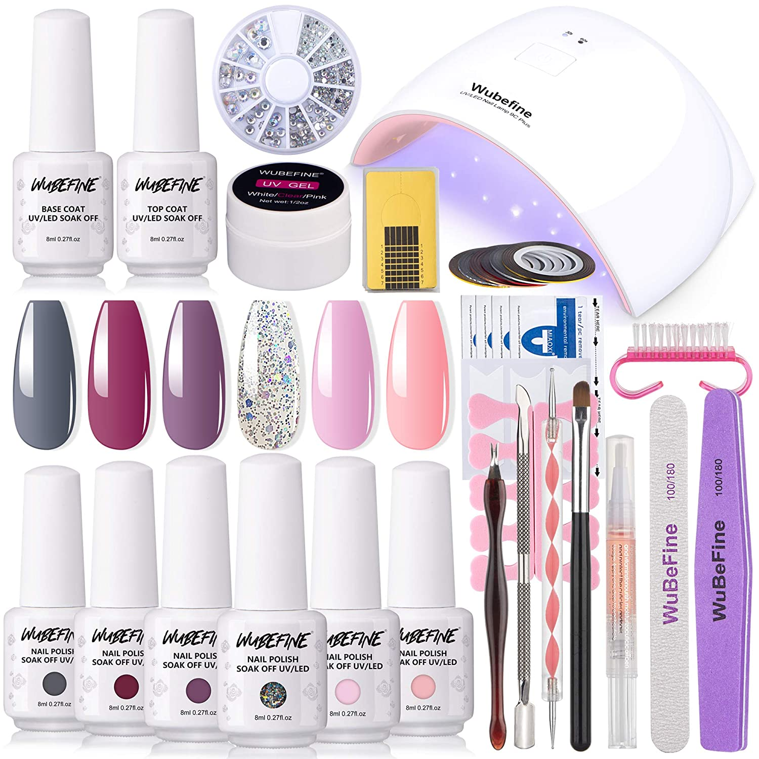 Gel Nail Polish Kit, 6 Colors Gel Nail Polish Starter Kit with 36W LED Nail Dryer Lamp and Base Top Coat Home DIY Beginner Kit Gel Professional Tools Set