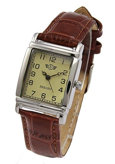 Eriksen reloj de vestir de cuarzo analógico rectangular para mujer, correa de cuero LS: Amazon.es: Relojes