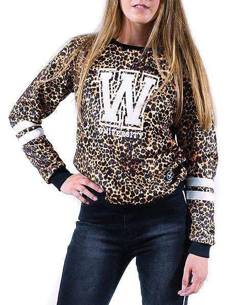 Sudadera de mujer UISSOS Estampado Leopardo Animal Print Moda Sin Capucha con Rayas Universitarias En Las Mangas para chica Talla única: Amazon.es: Ropa y ...