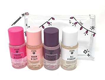 ddf1b25608a69 Victoria Secret Pink Fragrance Mist Set Travel Size 4 Piece Fresh and  Clean, Warm and Cozy, Beach...