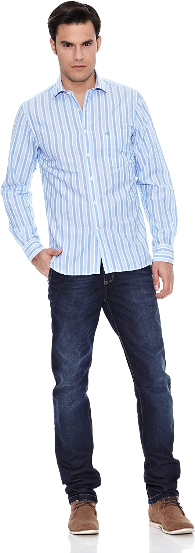 Pedro del Hierro Camisa Lino Lino Bicolor Azul L: Amazon.es ...