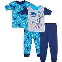 Jurassic World Jurassic Park - Pijama de algodón (4 Piezas) Juego de Pijama para Niños