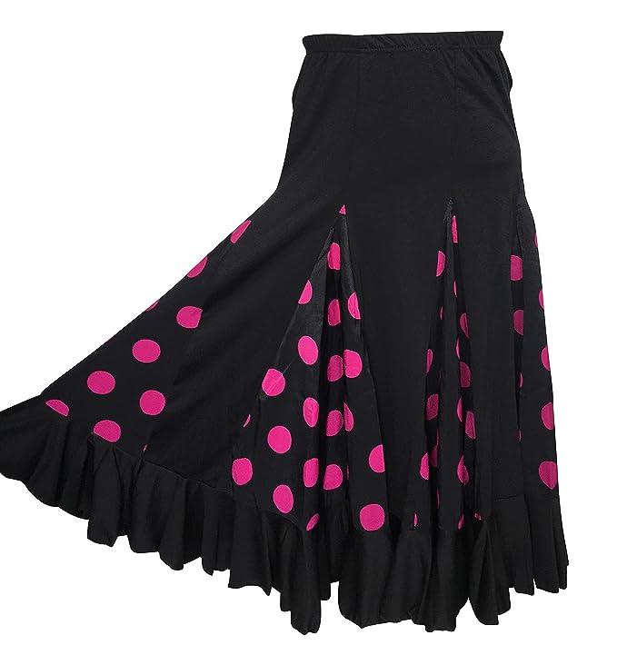 La Señorita Falda Flamenco Danza Sévillane niña Negro con Puntos ...