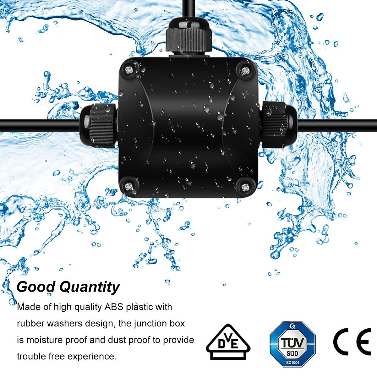 YoungRich 4pcs IP68 Caja de Conexiones Impermeable Conector de Cable 3 V/ías Caja de Conexiones a Distancia Externa El/éctrica Cables Subterr/áNeos /Ø 5.5mm-10.2mm Negro