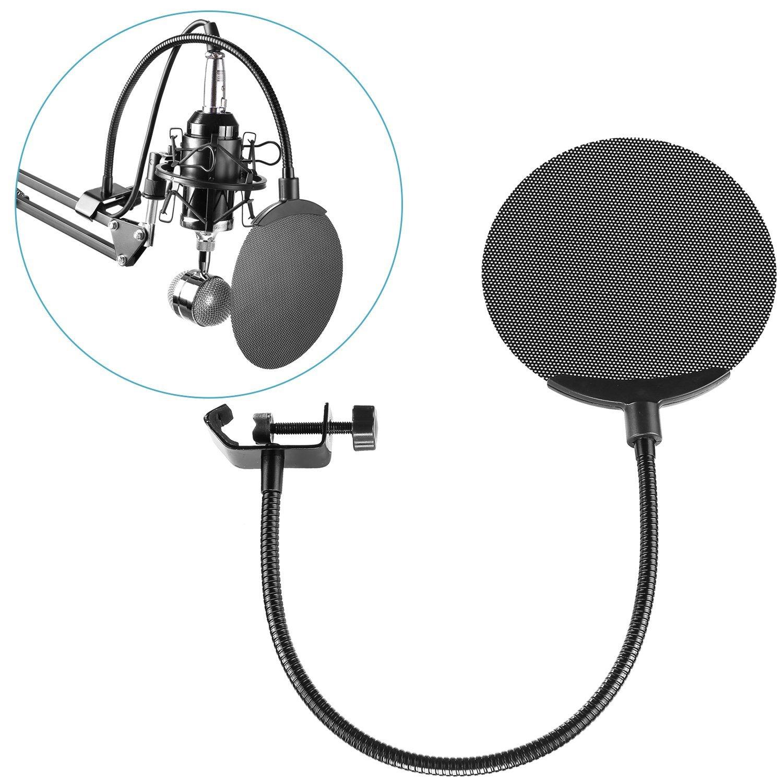Neewer® Studio Mikrofon Mic Windschutz Pop Filtermaske Schild mit Drehhalterung und 360 Grad Flexible Metall-Schwanenhals-Halter, Gerahmt Weiß auf Schwarz