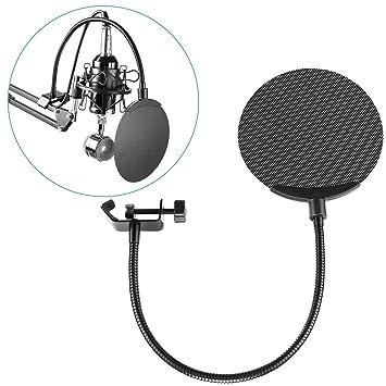 6 Zoll Studio Mikrofon Mic Runde Form Wind Pop Filter Mask Schild Mit Ständer Clip schwarz Filter Neewer Nw b-3