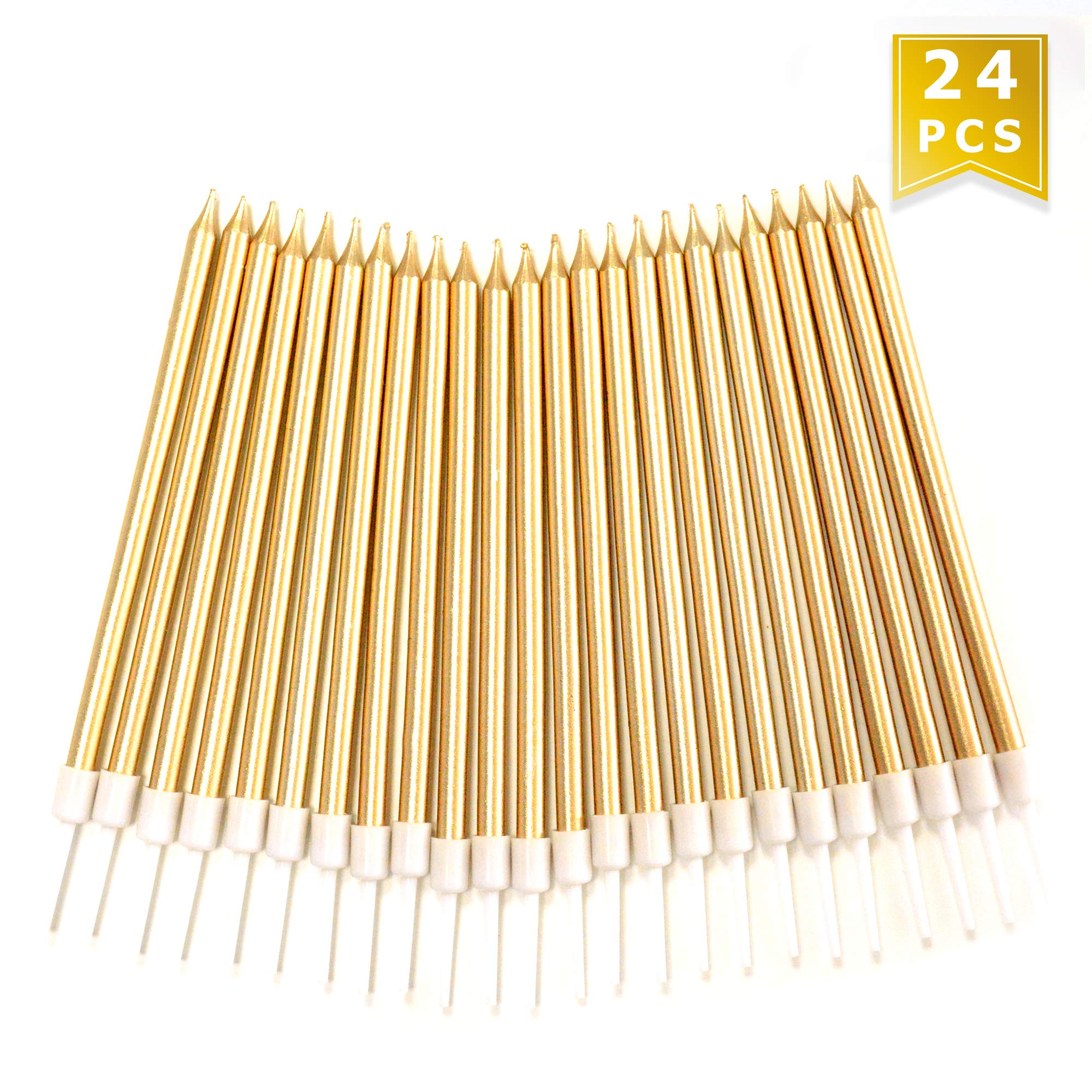 24 Count Birthday Party Long Thin Cake Candles Metallic Birthday Candles in Holders for Birthday Cakes Decorations, Champagne Gold by Lucky Party