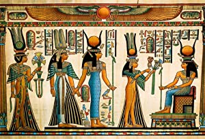 LFEEY 5x3ft Egyptian Papyrus Backdrop Coloring Ancient Egypt Parchment Hieroglyphic Gods Ramses Pharaoh Photo Background for Travel Vacation Photo Studio Props