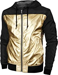 4461231db1e Hat and Beyond Mens Windbreaker Lightweight Two Tone Hooded Slim Fit Jacket