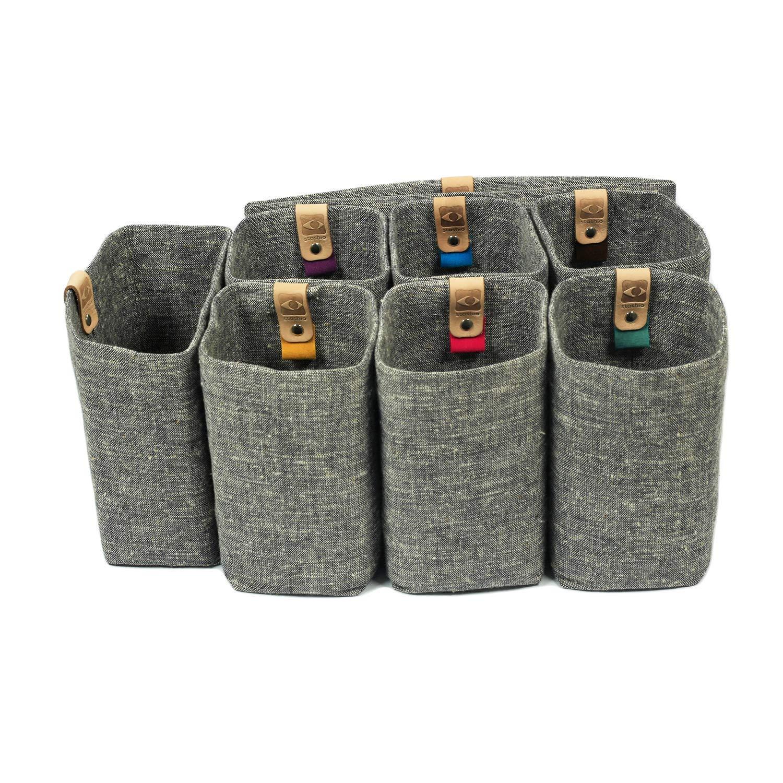 Stashio Magnetic Detachable Bag in Bag Organizer Insert for Purse/Tote/Handbag, Handwoven Grey Khadi, 5'' 8-pc Tote Set by Stashio