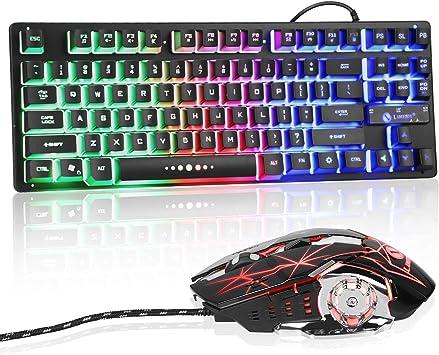 EEEKit Juego de teclado y ratón 2 en 1 LED arcoíris mecánico para juegos con retroiluminación multicolor para PS4/Xbox One/Windows PC Gamer ...